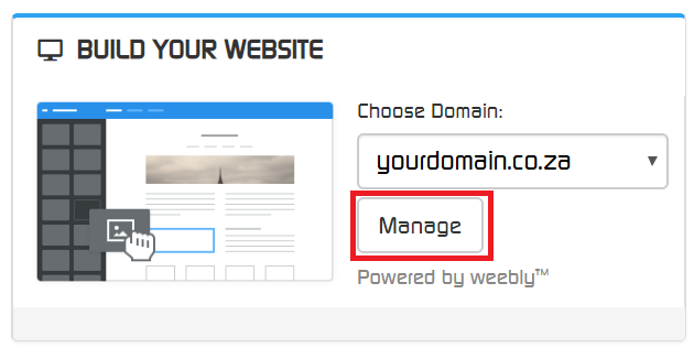 Weebly Manage Option